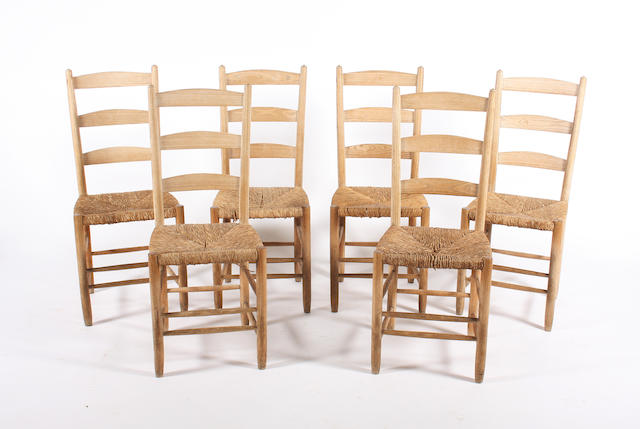A set of six turned ash frame ladderback chairs by Edward Gardiner, circa 1950, designed by Ernest Gimson, 'The Bedales'