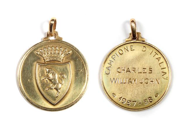1957-58 Italian League Champions medal awarded to John Charles