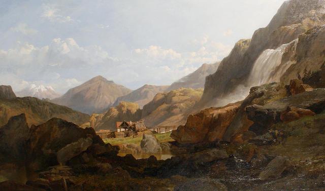 George Clarkson Stanfield (British, 1828-1878) Falls of Sallanches in the Valais, Switzerland
