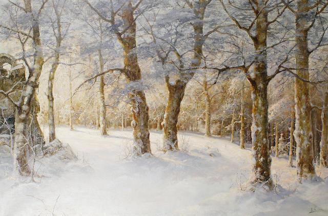 Karl Rosen (Russian, 1864-1934) A winter woodland