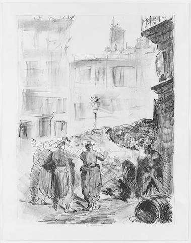 Edouard Manet (French, 1832-1883) La Barricade (Scène de la Commune de Paris) Lithograph, 1871, second state of two, on chine applique, printed by Lemercier et Cie, 460 x 330mm (18 1/5 x 13in)(I)