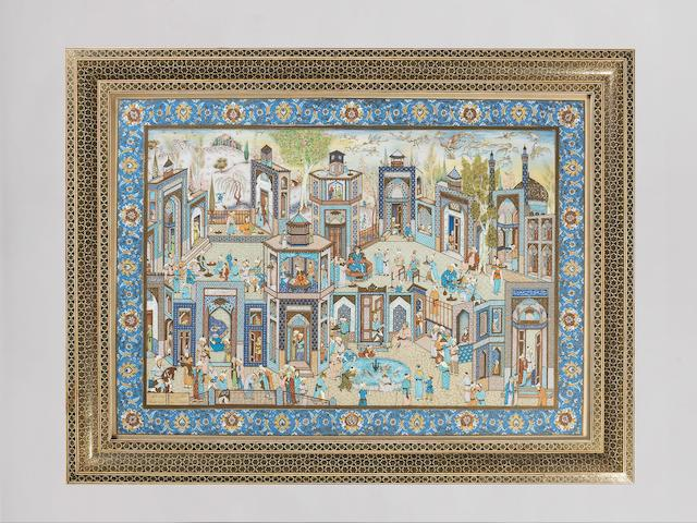 A large painting depicting scenes of city life, by Mu'adhiti Persia/Iran, probably Isfahan, mid-20th Century