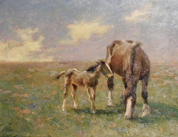 Frederick Hall (British, 1860-1948) Horse and foal