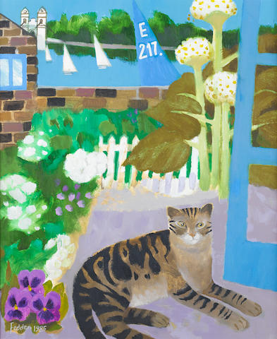 Mary Fedden R.A. (British, born 1915) Tabby at the Wharf 60.5 x 50 cm. (23 3/4 x 19 3/4 in.)