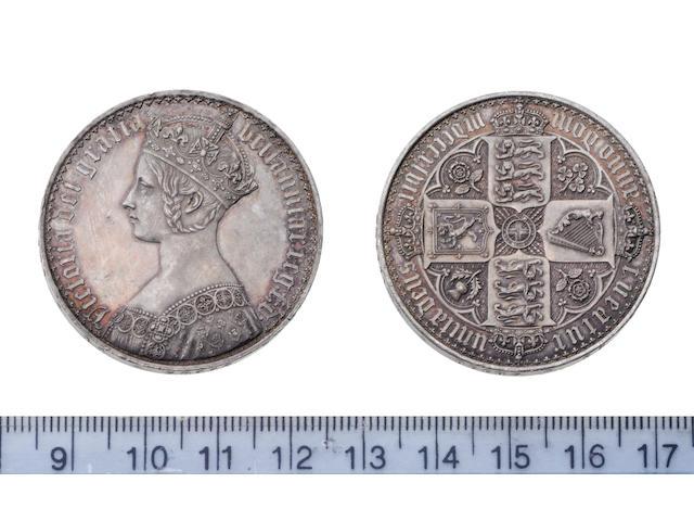 Victoria, Crown, mdcccxlvii, 'Gothic' type bust left,