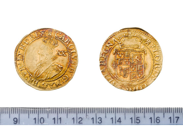 Charles I, 1625-49, Tower mint, under the King (1625-42), Unite, 9.1g, group B, second bust left in ruff armour and mantle, XX behind,
