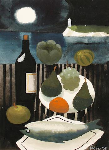 Mary Fedden R.A. (British, born 1915) 'The black bottle'