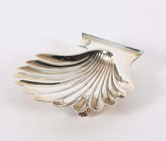 A George III silver scallop shell butter dish By John Emes, London, 1806,