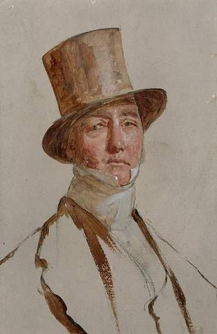 Charles Lees R.S.A. (1800-1880): An important mid-19th Century preliminary oil on paper portrait of Viscount Valentia  painted in preparation for 'The Golfers A Grand Match Played on St. Andrews Links 1841'. The painting has been left untouched and undivided on board.  This lot also includes a copy of 'Challenges & Champions', The Royal and Ancient Club 1754-1883, by John Behrend and Peter N. Lewis.  5 x 3½ inches   Provenance: From a private collection in Surrey, England and a Christie's catalogue entry circa 1940, a copy of which is attached to the reverse of the painting.