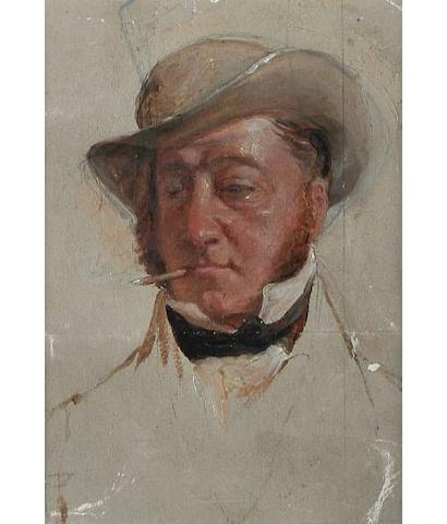 Charles Lees R.S.A. (1800-1880): An important mid-19th Century preliminary oil on paper portrait of John Campbell of Glensaddell  Painted in preparation for 'The Golfers A Grand Match Played on St. Andrews Links 1841'. The painting has been left untouched and undivided on board.   Provenance: From a private collection in Surrey, England and a Christie's catalogue entry circa 1940, a copy of which is attached to the reverse of the painting.