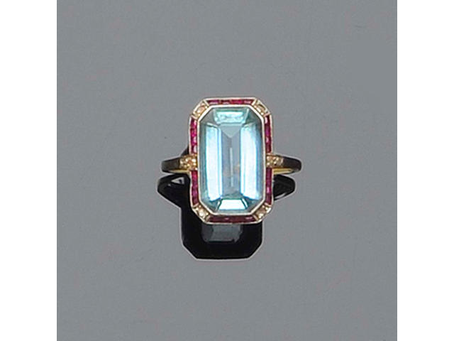 An Art Deco aquamarine, diamond and ruby ring