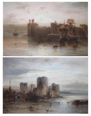 H. Max Krause (British, 19th century) Carnarvon Castle; Rhuddlan Castle, North Wales