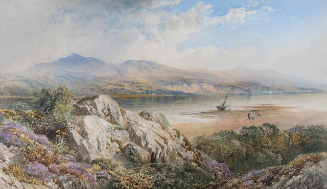 Cornelius Pearson (British, 1805-1891) 'Lake Windemere'(?), shore scene with figures and boats,