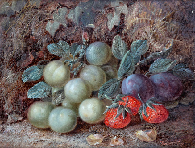 Vincent Clare (British, 1855-1930) Still life of plums, greengages and strawberries on a mossy bank,