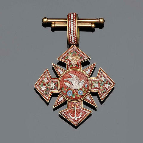 A Archaeological Revival micro-mosaic brooch/pendant