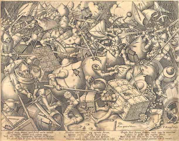 After Jan Breughel the Elder The Fight of the Money-Bags Engraving, 1570, by Pieter van der Heyden, first state of two, with the Pave monogram, 'P.Bruegel Invet' and the name of the publishing house 'Aux Quatre Vents', published by the widow of Hieronymous Cock, on laid, with small margins, 240 x 305mm (9 1/2 x 12in(PL) unframed