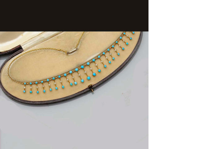 An Edwardian turquoise and seed pearl fringe necklace