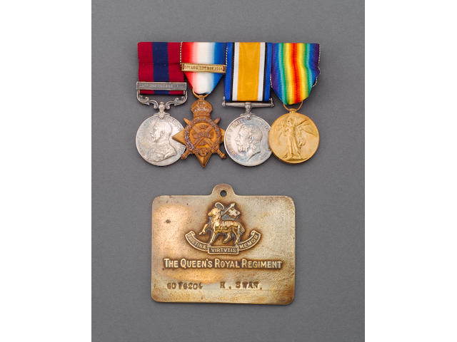 A Great War D.C.M. and dated Bar group of four to Private H.L.Swan, Queen's Regiment,