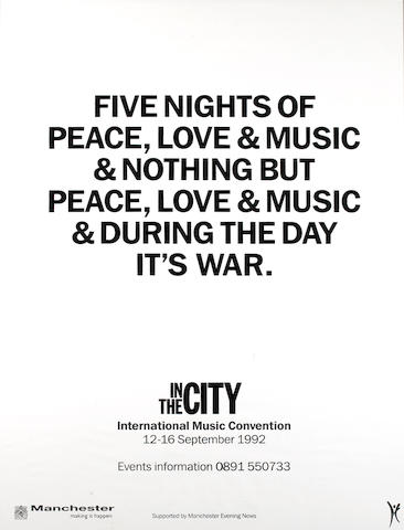 The Hacienda: a poster - In The City International Music Convention, 12-16 September 1992,