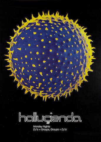 The Hacienda: a poster - Hallucienda Monday Nights DJ's + Groups, Groups + DJ's,