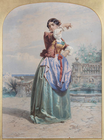 Carl Friedrich Heinrich Werner (German, 1808-1894) A Spanish lady, dancing on a terrace with castanets,