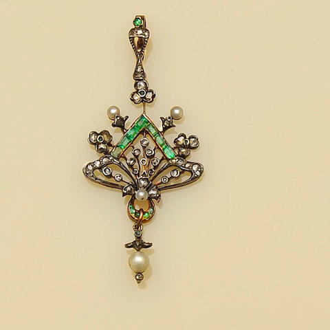 An early 20th century diamond, pearl and emerald pendant