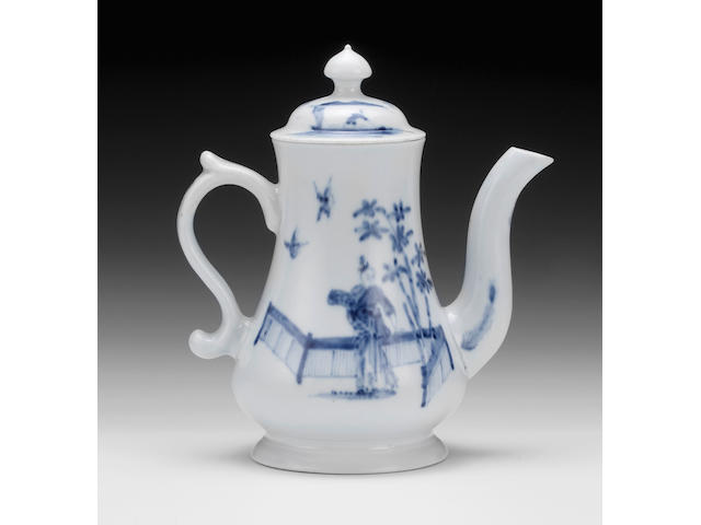 An exceptional early Worcester coffee pot and cover, circa 1752-53