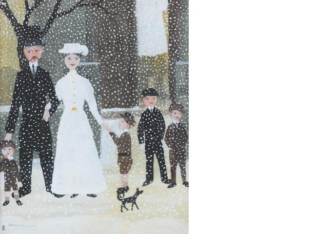 Helen Bradley (British, 1900-1979) Winter snow scene 28.5 x 23 cm. (11 1/4 x 9 in.)