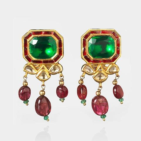A pair of gem-set enamelled gold Earrings India, 20th Century(2)