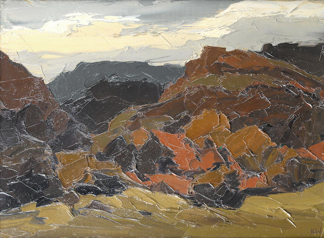 Sir Kyffin Williams, R.A. (British, 1918-2006) Autumn In Nantmor 50.5 x 68.5 cm. (19 3/4 x 27 in.)