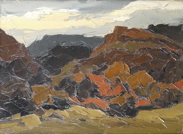 Sir Kyffin Williams R.A. (British, 1918-2006) Autumn In Nantmor 50.5 x 68.5 cm. (19 3/4 x 27 in.)