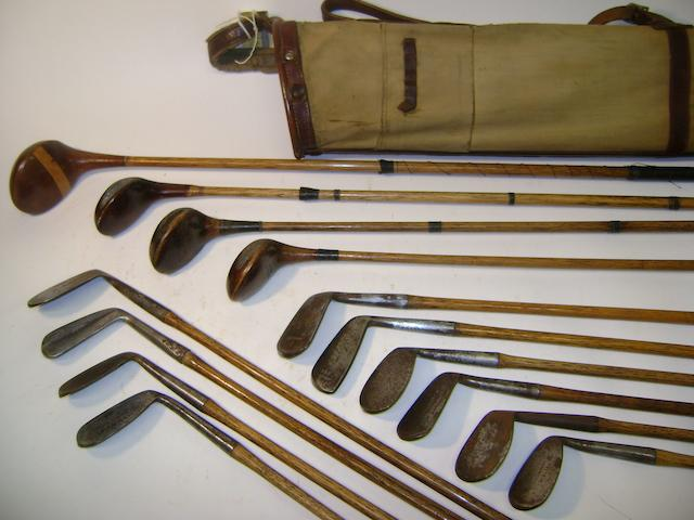 A canvas and leather trimmed golf bag
