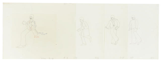 Yellow Submarine: four animation drawings of the Beatles, 1967/68,