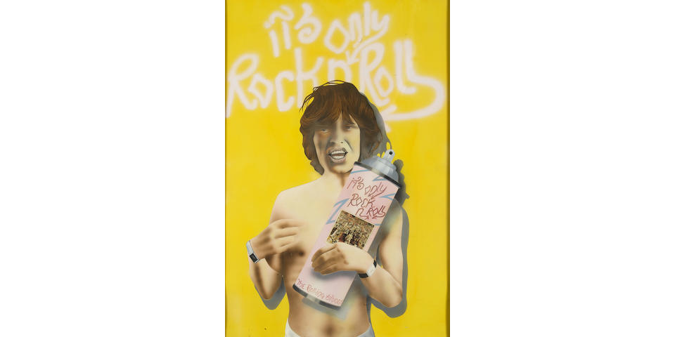 Rare original artwork for 'It's Only Rock 'N' Roll' by The Rolling Stones, 1974,