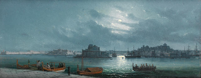 Girolamo Gianni (Italian, 1837-1895) Valetta harbour by moonlight