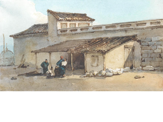 George Chinnery, RHA (British, 1774-1852) Chinese figures outside a walled building