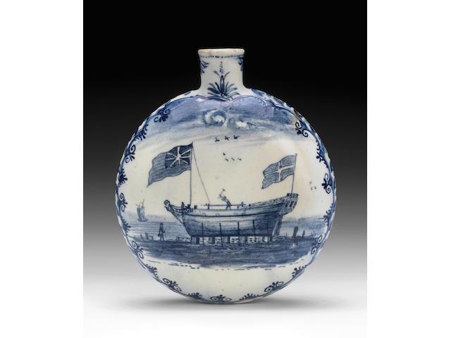 An important Lowestoft flask, circa 1780
