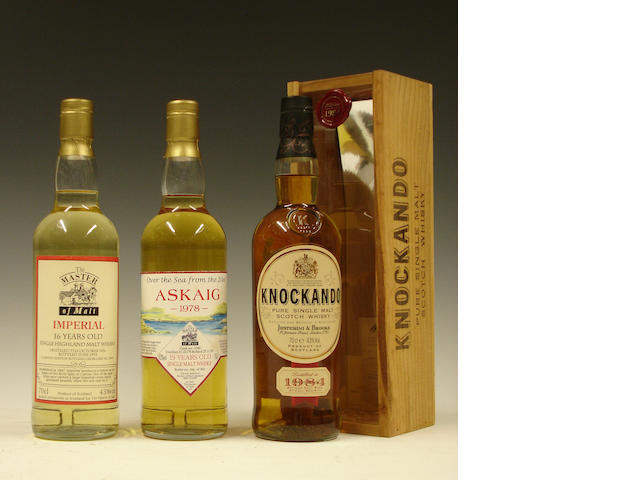 Imperial-16 year old-1976Askaig-15 year old-1978Knockando-1978