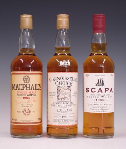 MacPhail's-24 year old-1965  Rosebank-1983  Scapa-1983