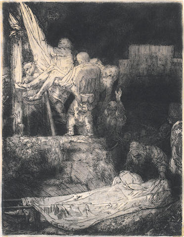 Rembrandt Harmensz van Rijn (Dutch, 1606-1669) Descent from the Cross by torchlight Etching, 1654, a late impression possibly by Bernard, with traces of burr and diagonal hatching upper right, on wove, with thread margins, with unidentified collector's crown mark lower right, 210 x  162mm (8 1/4 x 6 1/2in)(PL) unframed