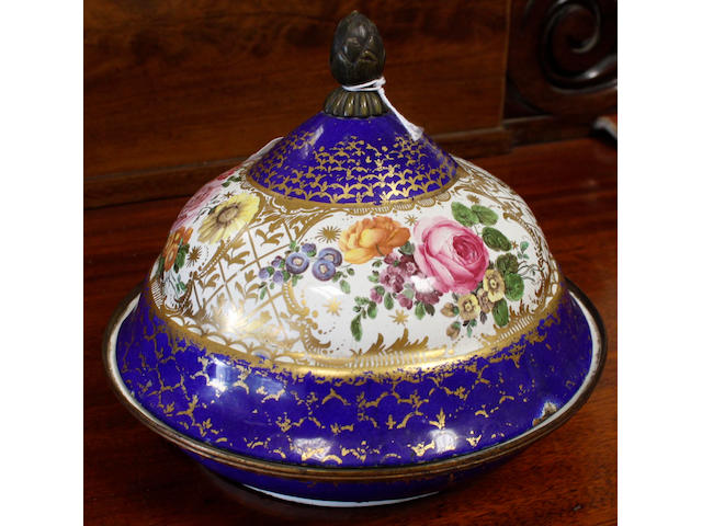 Vienna enamel circular muffin dish, for the Turkish market, with domed cover, painted with bouquets of flowers, gilt lattice work, gilt decorated gros bleu borders, 10cm diameter.