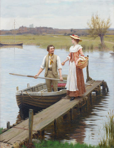 Edmund Blair Leighton, ROI (British, 1853-1922) An apple for the boatman