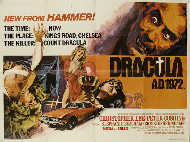 A large collection of film posters, many relating to Horror and Hammer films, the majority being U.K. Quad posters, titles including; large quantity
