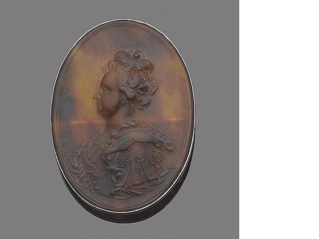 A tortoiseshell reverse cameo brooch, by John Obvisset,