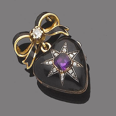 A late 19th century enamel, amethyst and diamond pendant locket