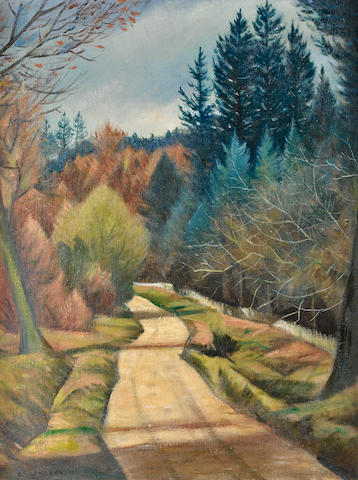 Christopher Richard Wynne Nevinson A.R.A. (British, 1889-1946) Road through the forest 60 x 45 cm. (23 3/4 x 17 3/4 in.)