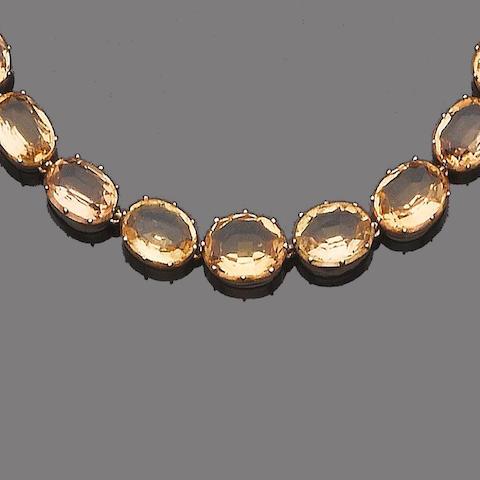 A 19th century topaz rivière necklace