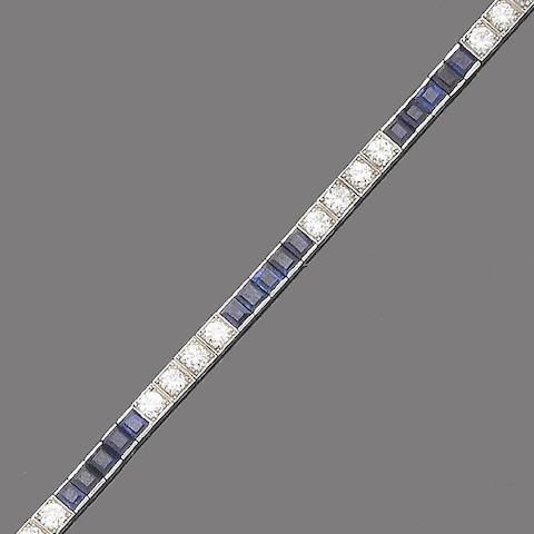 An art deco sapphire and diamond line bracelet,