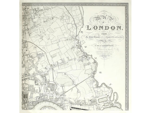 LONDON GREENWOOD (CHARLES and JOHN) Map of London, from an Actual Survey made in the Years 1824, 1825, and 1826