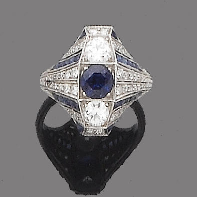 An art deco synthetic sapphire and diamond dress ring,